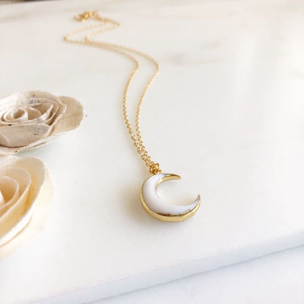 White Crescent Necklace in Gold. White Moon Necklace. Vertical Moon Necklace. Layering Jewelry.