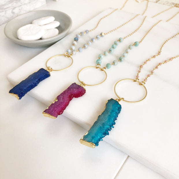 Long Boho Necklace. Druzy Necklace in Green, Blue, Pink and Gold. Long Stone Beaded Necklace