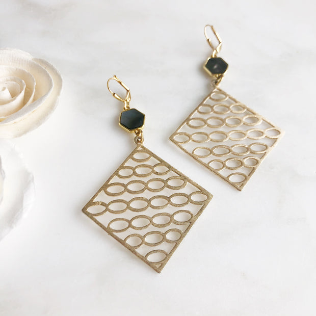 Geometric Statement Earrings with Hexagon Mother of Pearl