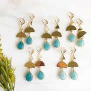 Geometric Earrings with Blue Stones in Gold. Long Dangle Earrings