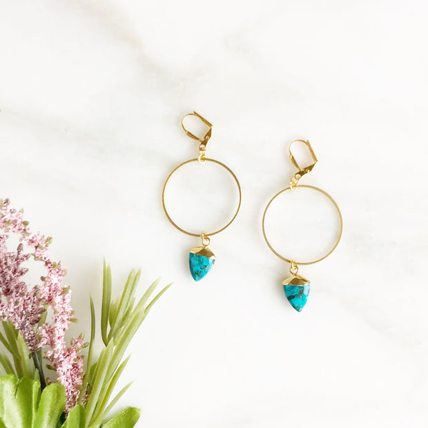 Gold Hoops with Turquoise Shield Pendants. Turquoise Hoop Statement Earrings
