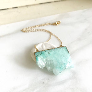 Aqua Druzy Necklace. Geode Crystal Necklace in Gold.