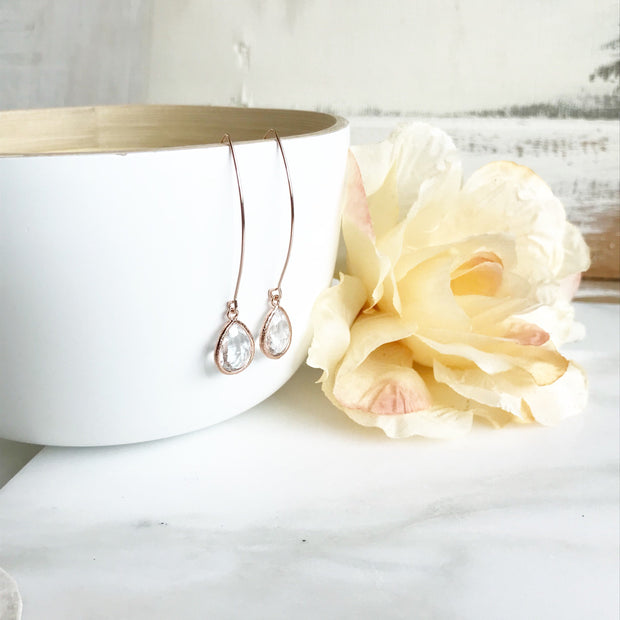 Rose Gold and Clear Stone Drop Earrings. Bridesmaid Gift. Rose Gold Drop Earrings. Wedding Jewelry. Simple Earrings. Dangle Earrings. Gift.