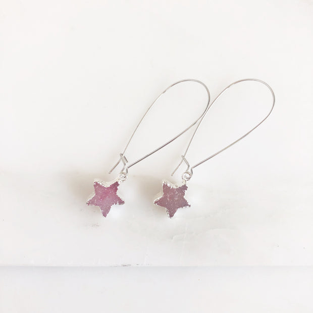 Pink Druzy Star Earrings. Simple Silver Druzy Drop Earrings