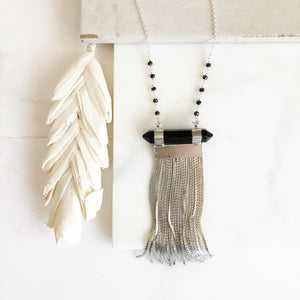 Long Silver Chain Tassel Necklace with Black Stone and Beaded Chain. Long Sterling Silver Tassel Necklace. Tassel Jewelry. Long Necklace.