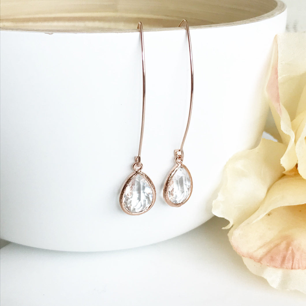 Rose Gold and Clear Stone Drop Earrings. Bridesmaid Gift.