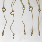 Gold Solidarity Necklace. Safety Pin Necklace. Long Y Necklace. Long Lariat.