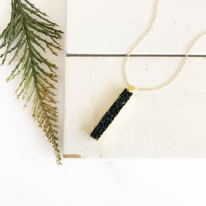 Black Druzy Necklace. Bar Necklace in Gold. Druzy Necklace. Bar Necklace. Vertical Bar Druzy Necklace. Layering Necklace. Druzy Jewelry.