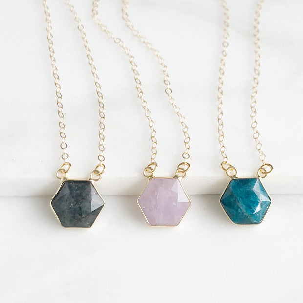 Hexagon Stone Layering Necklace in Gold. Labradorite Rose Quartz Apatite Pendant Necklace