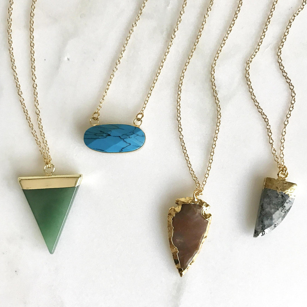 Gemstone Layering Necklace - Short Style. Layering Pendant Necklace. Gemstone Jewelry.