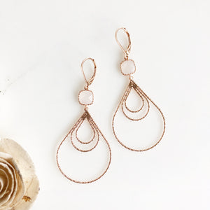 Rose Gold Statement Earrings. Rose Gold Teardrop Statement Earrings with Smoky White Stones. Gift.