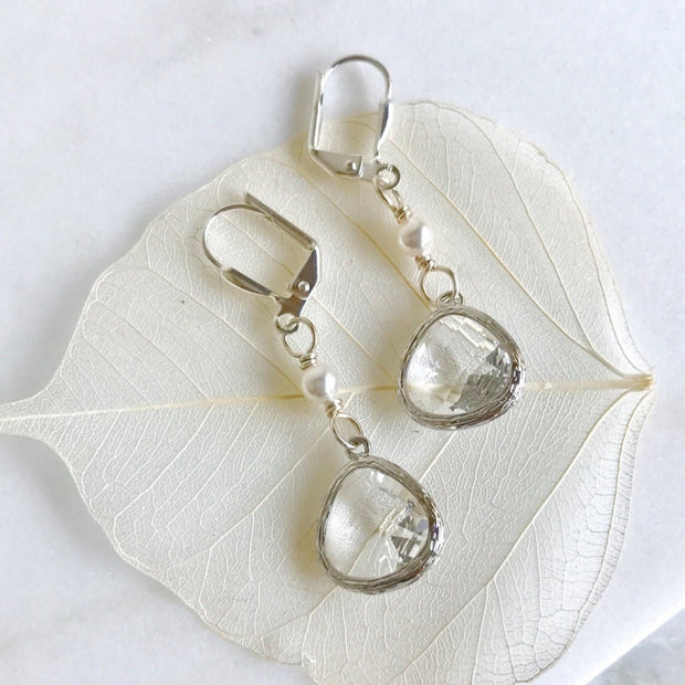 Sweet Bridal Earrings with clear Teardrop and White Swarovski Pearl Dangle Earrings in Silver Jewelry Gift for Her. Christmas Gift. Holiday