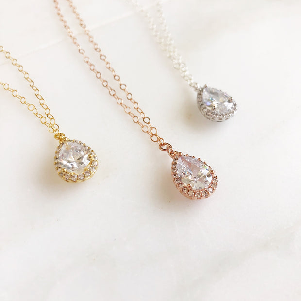Cubic Zirconia Teardrop Bridal Formal Necklace. Bridal Jewelry. Bridesmaids Necklace.