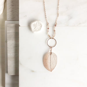 Long Rose Gold Leaf Necklace with Strawberry Quartz Beaded Chain.