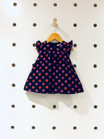Navy Orange & Pink Sparkly Polka Dot Dress