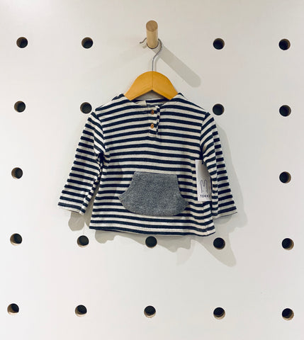 Zara Grey & White Striped Pocket Top Sz 3/6 months