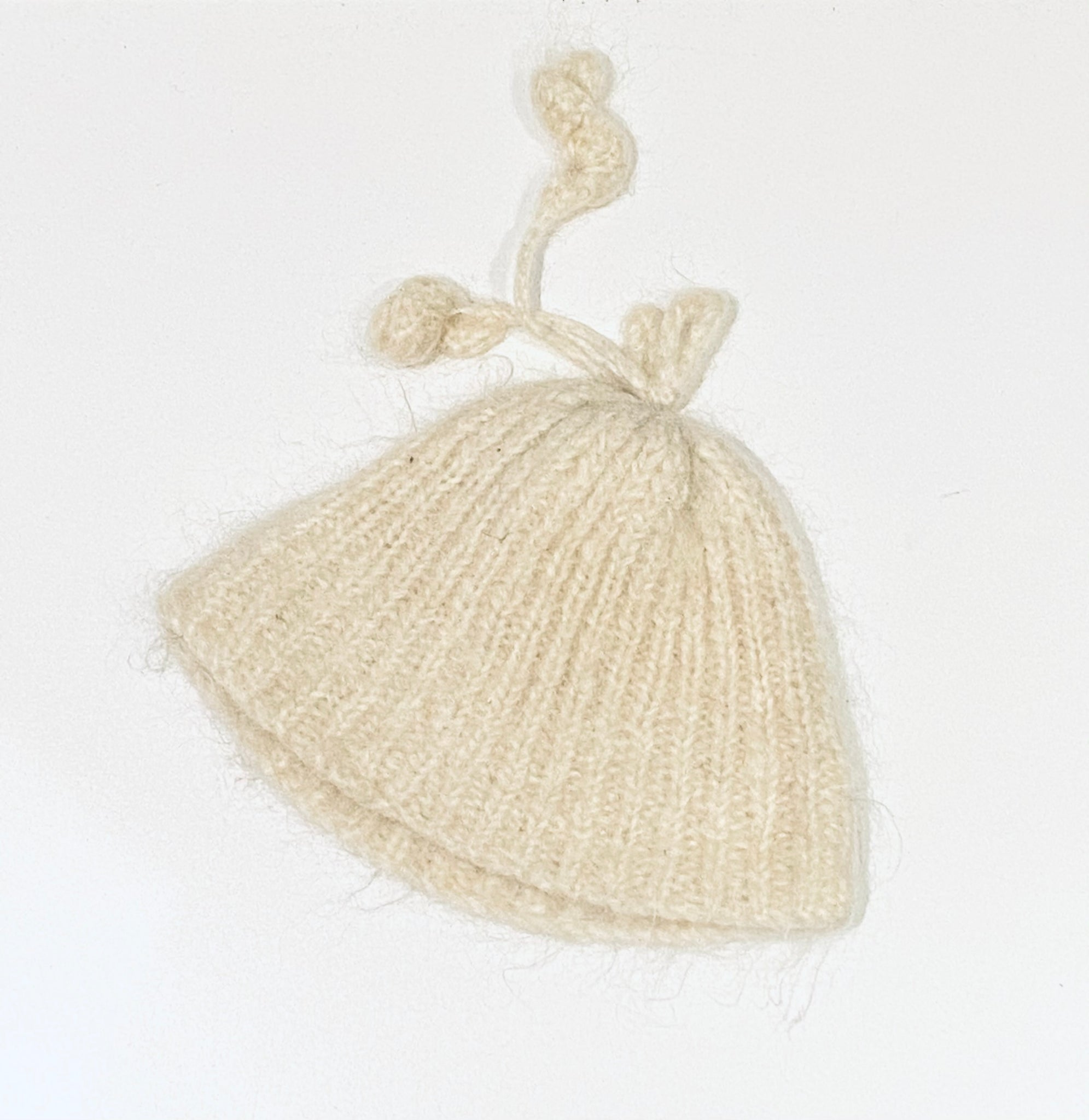 Cream Top Knot Hat
