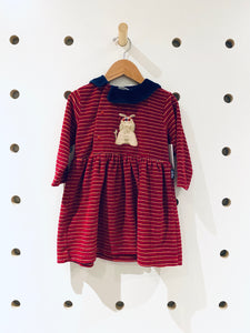 Vintage Dark Red Velour Dress Sz 24 months