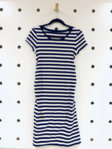 Liz Lange Maternity Blue & White Striped T-Shirt Dress Sz XS