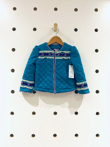 Teal & Embroidered Quilted Jacket