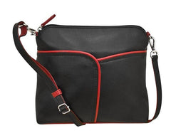 Black and red leather crossbody