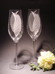 Set of 2 Etched flute glasses