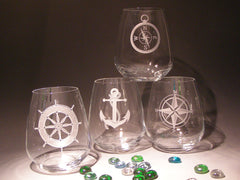 Set of 4 nautical stemless wine glasses