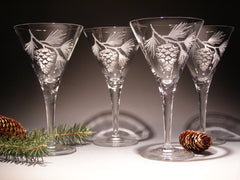 Set of 4 Etched martini glasses