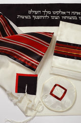 Tallit with red and black trim