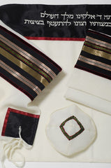 Black and maroon trimmed tallit