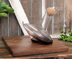 Revolving decanter with wood base