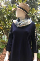 Navy ladder sleeve tunic, Scarf