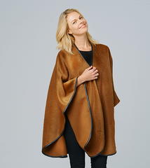 Leather trimmed cape