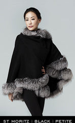 Fur trimmed cashmere cape