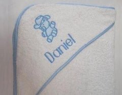 Personalized hooded terry bath towel