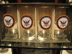 Set of 4 Navy insignia glasses