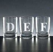 4 pc. initialed double old fashion glasses