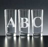 4 Initial hi-ball glasses