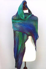 Pleated silk shawl