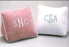 Monogrammed wedge pillow