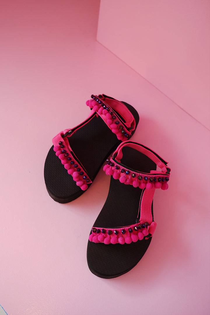 24mm Embellishment Sporty Sandals in Pink