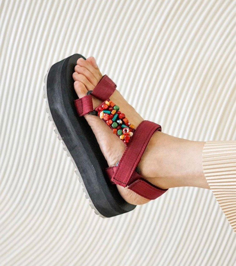 24mm Sporty Sandals in Maroon Embellishment