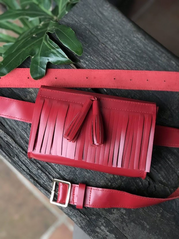 The Fringe Fanny Pack in Cherry