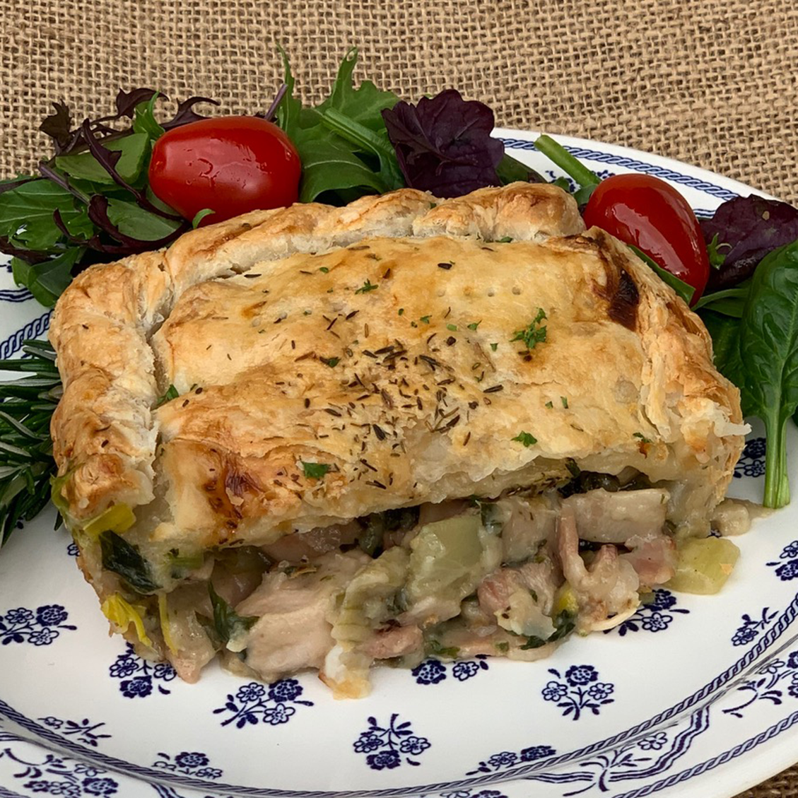 Chicken, Mushroom & Bacon Pie