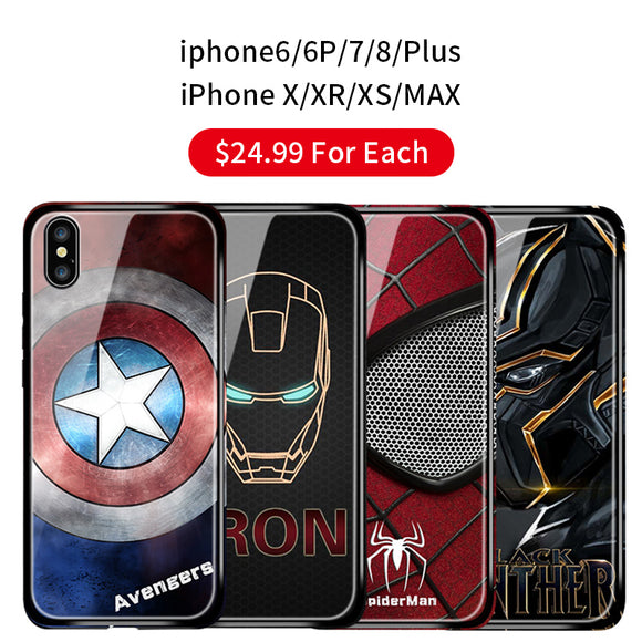 Marvel Superhero Tempered glass iPhone Case