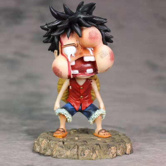 One Piece Beaten Monkey D. Luffy Statue With Swollen Face