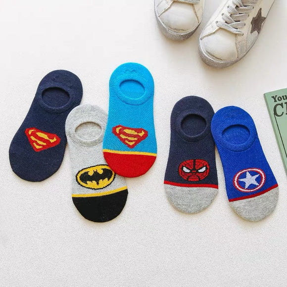Kid's Superheroes Calf & Ankle & No-show Liner Socks 5-Pack