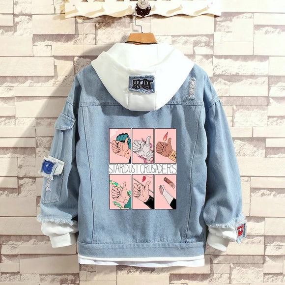 JoJo's Bizarre Adventure Stylish Hooded Denim Jacket