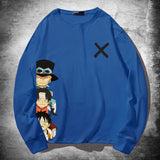 One Piece Cartoon Luffy, Ace and Sabo Crossmark Long-Sleeve Tee