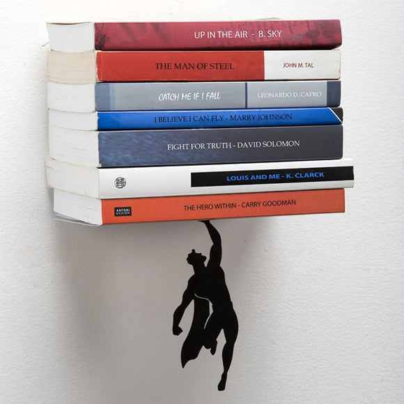 Superman & Superwoman Magnetic Bookend & Bookshelf